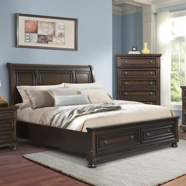 Elements International Kingston Sleigh Queen Bed With
