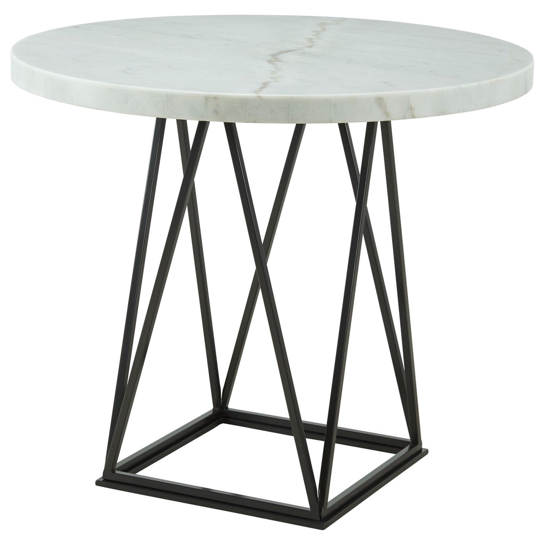 Elements International Riko Round Counter Height Dining Table With Marble Top Lindy S Furniture Company Pub Tables