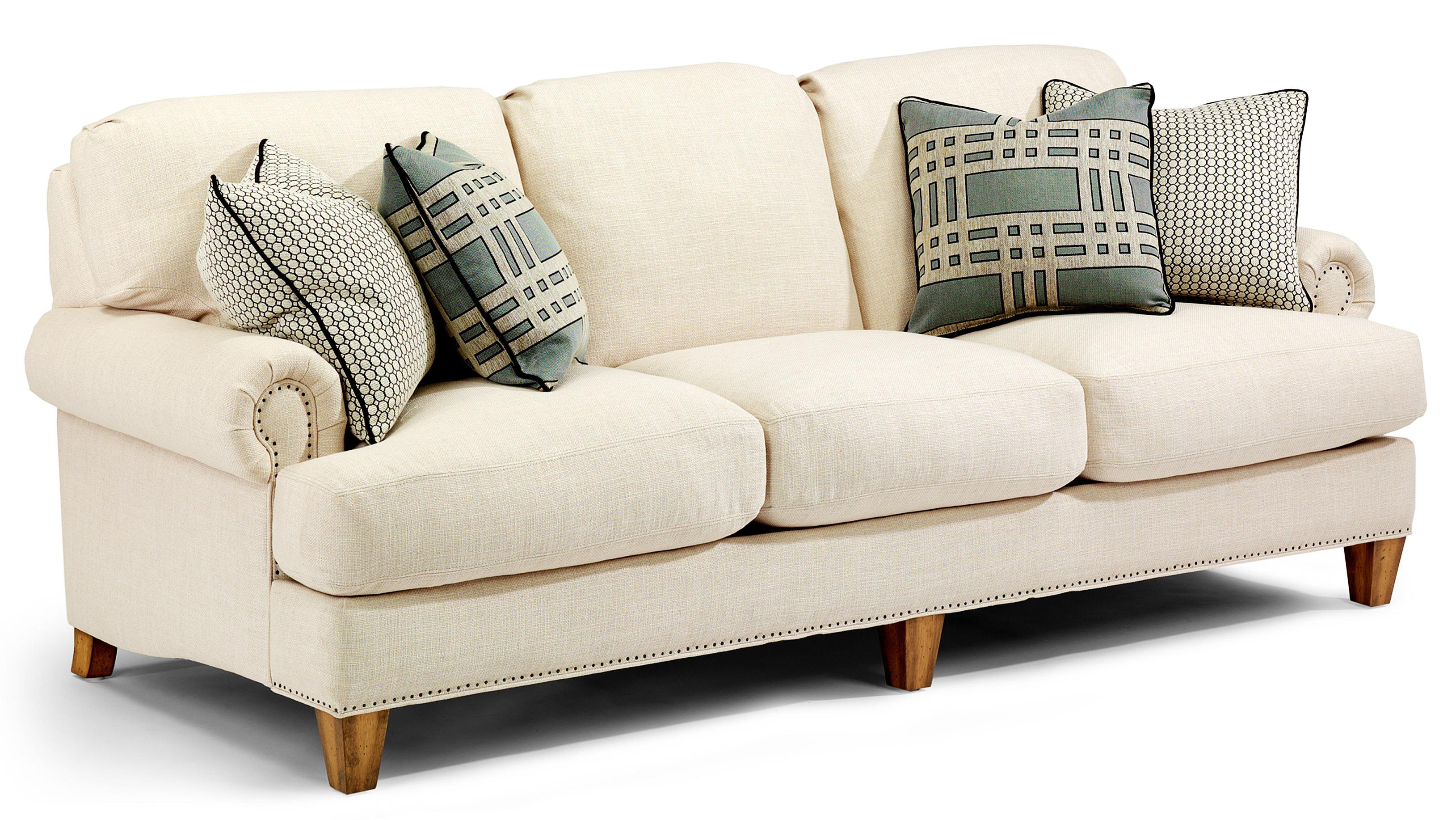 Flexsteel Luxury Transitional Sofa with Rolled arms and Nailhead     Flexsteel Luxury Transitional Sofa with Rolled arms and Nailhead Trim    AHFA   Sofa Dealer Locator