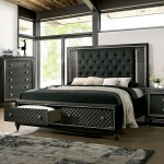 Furniture Of America Foa Demetria Cm7584dr Q Bed Contemporary Queen Upholstered Storage Bed With Led Light Trim Headboard Del Sol Furniture Upholstered Beds