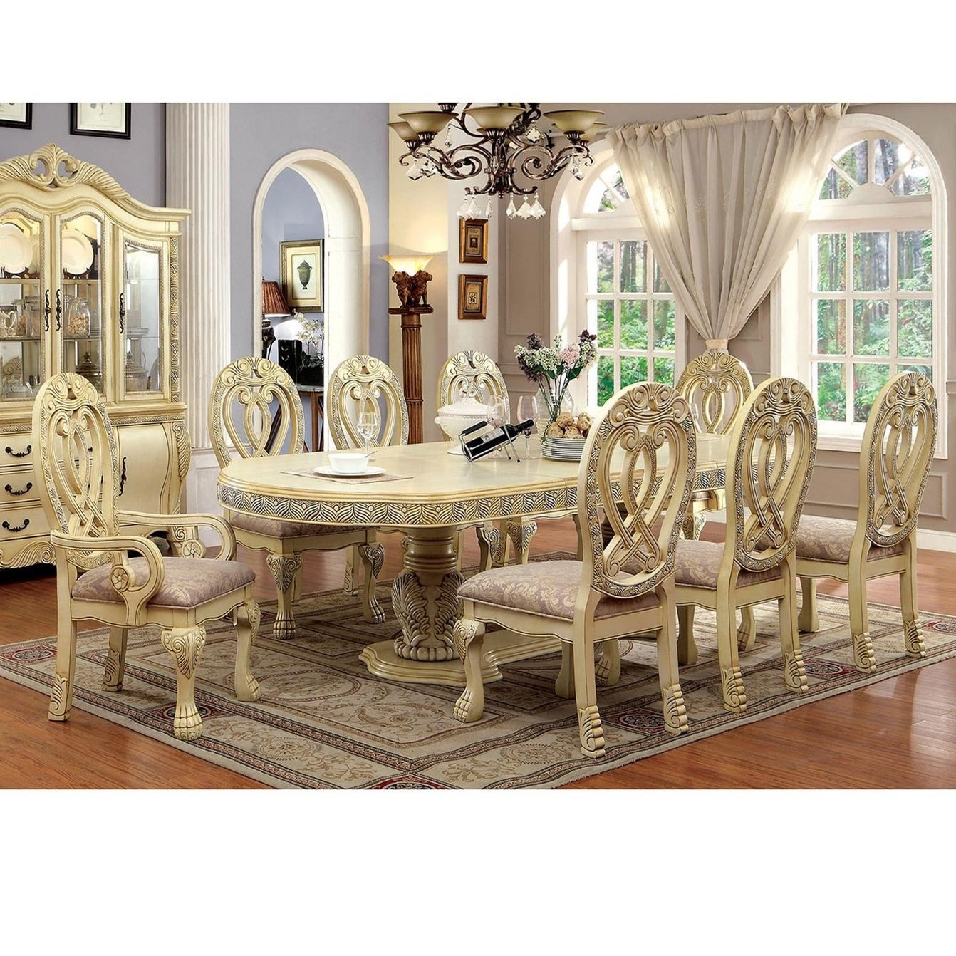 t 9pc traditional nine piece dining set