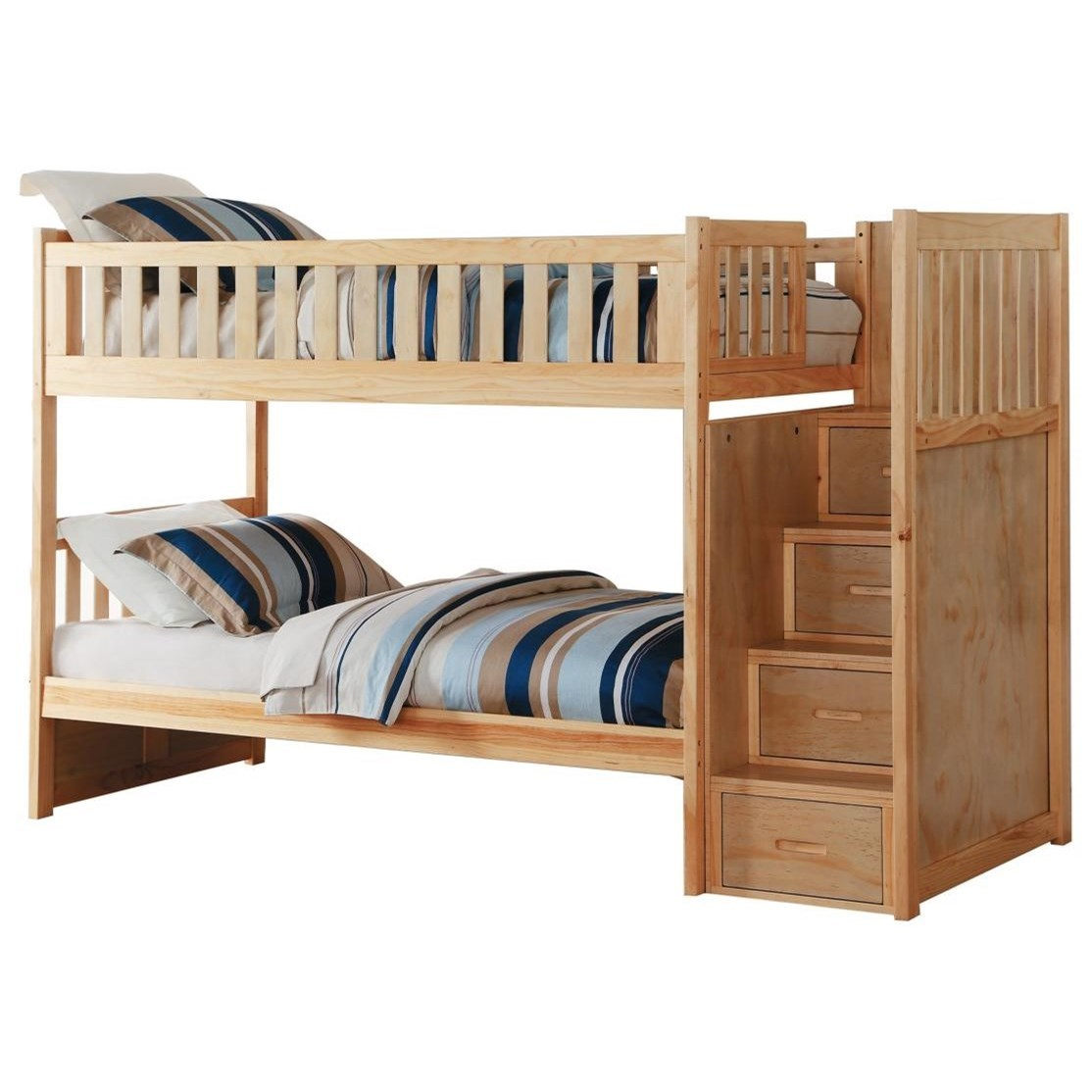 Natural Casual Twin Over Twin Bunk Bed With Reversible Step Storage Walker S Furniture Bunk Beds