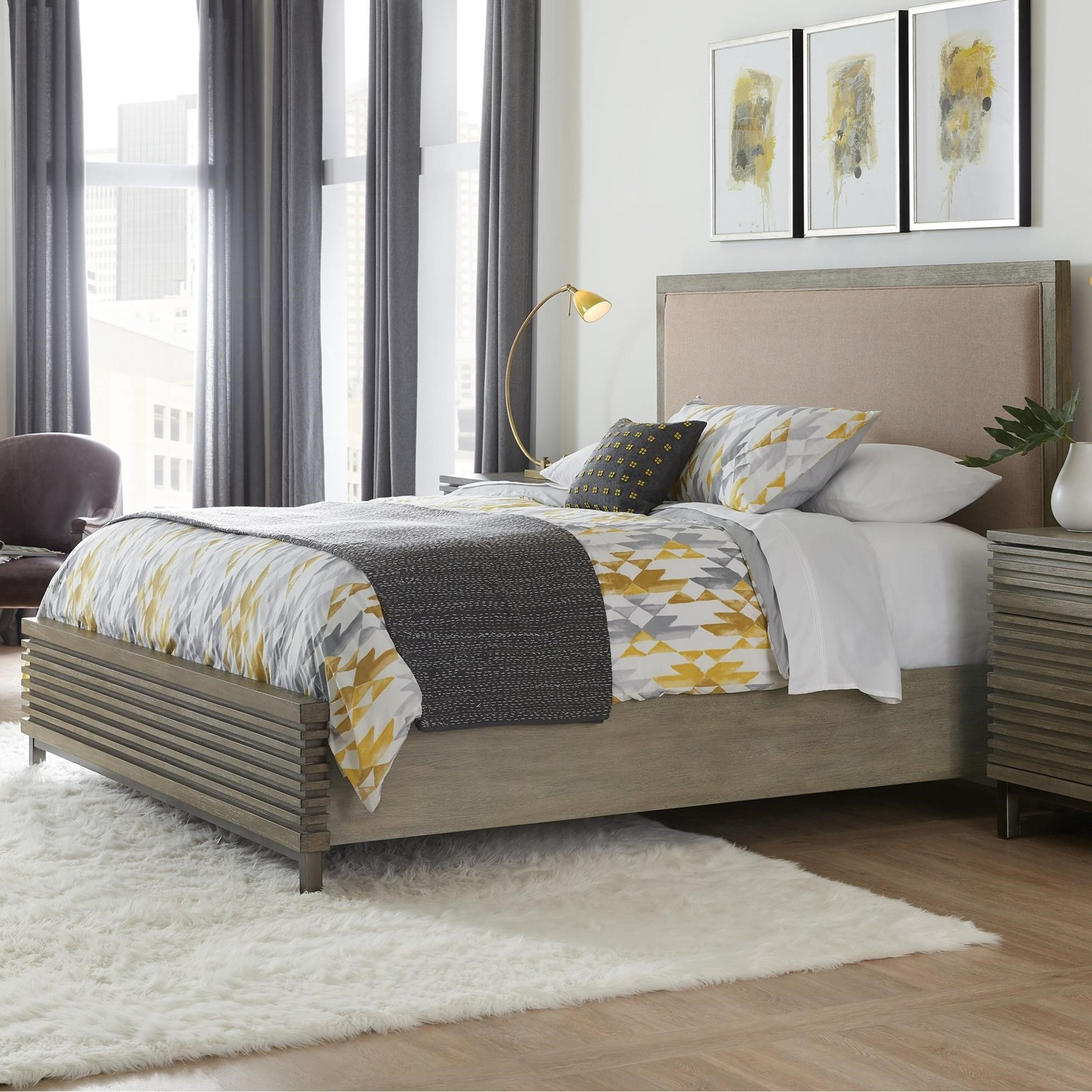 Annex Contemporary King Platform Upholstered Panel Bed