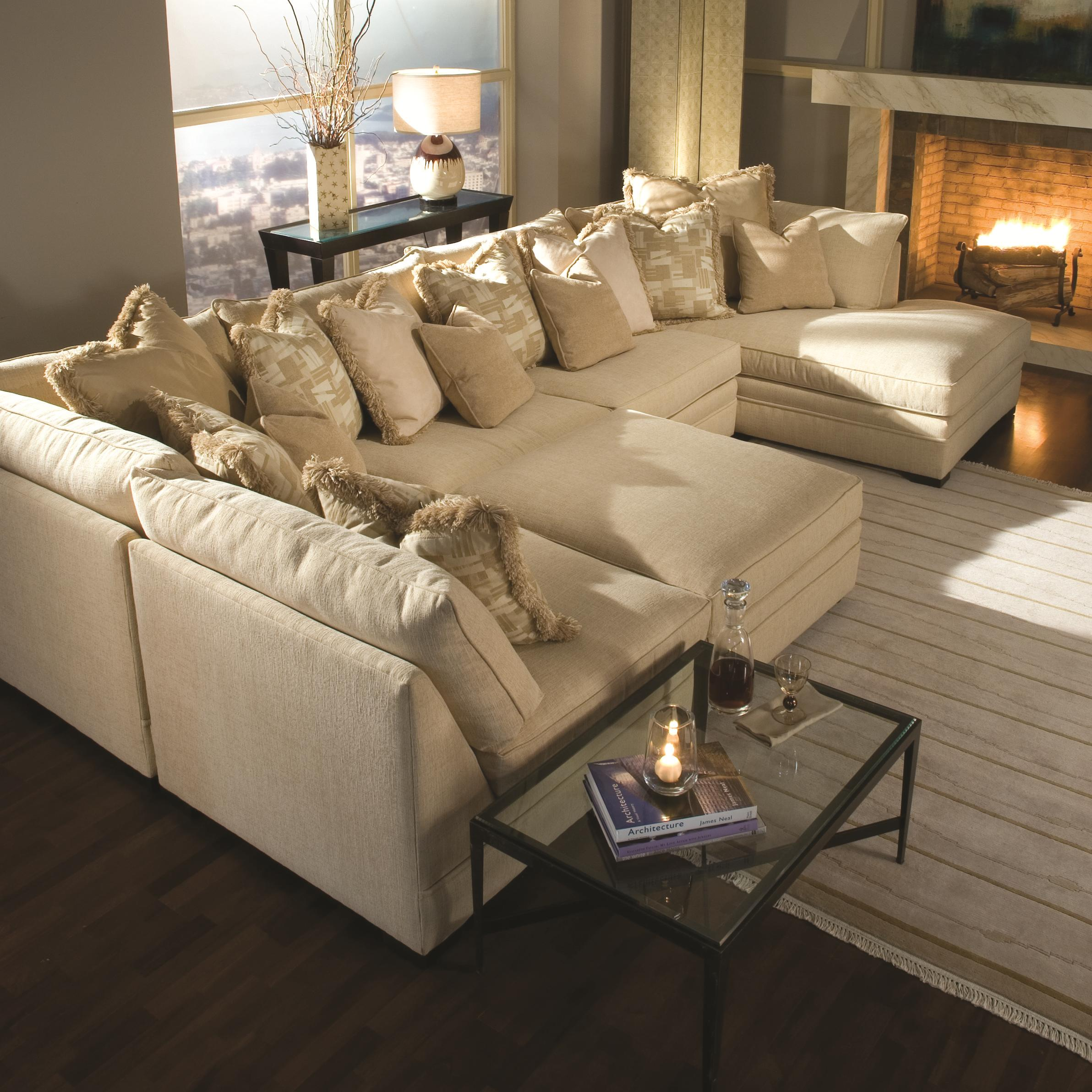 Huntington House 7100 Godfrey Contemporary U Shape Sectional Sofa With Chaise Belfort Furniture Sectional Sofas