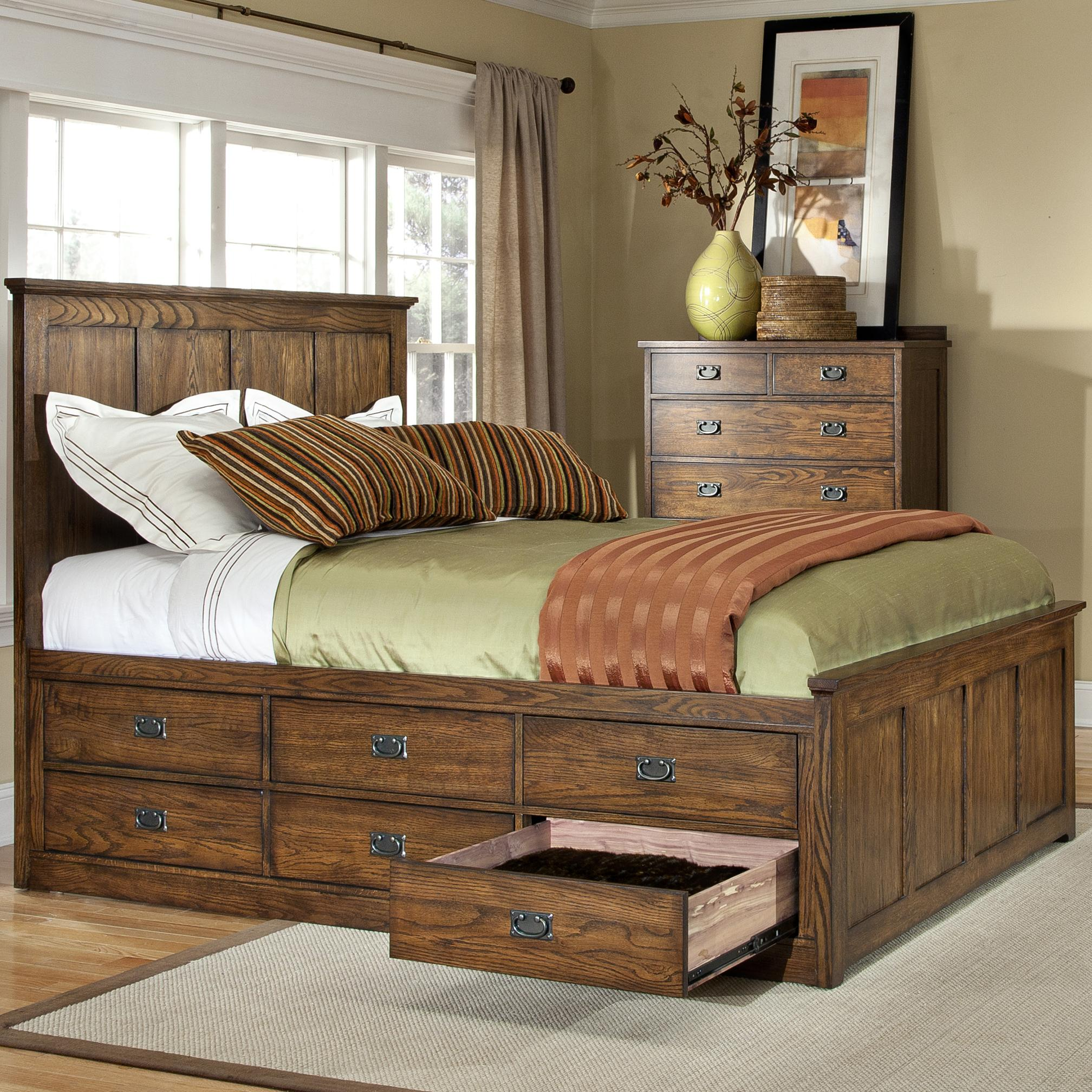 Intercon Oak Park Mission King Bed With Twelve Underbed
