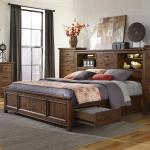Wolf Creek Queen Bookcase Bed With Storage Rails Sadler S Home Furnishings Bookcase Beds