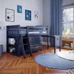 Jackpot Kids Loft Beds Windsor 2 Low Loft Bed In Blue W Angle Ladder W 3 Drawer Dresser Bookcase Pull Out Desk Belfort Furniture Loft Beds