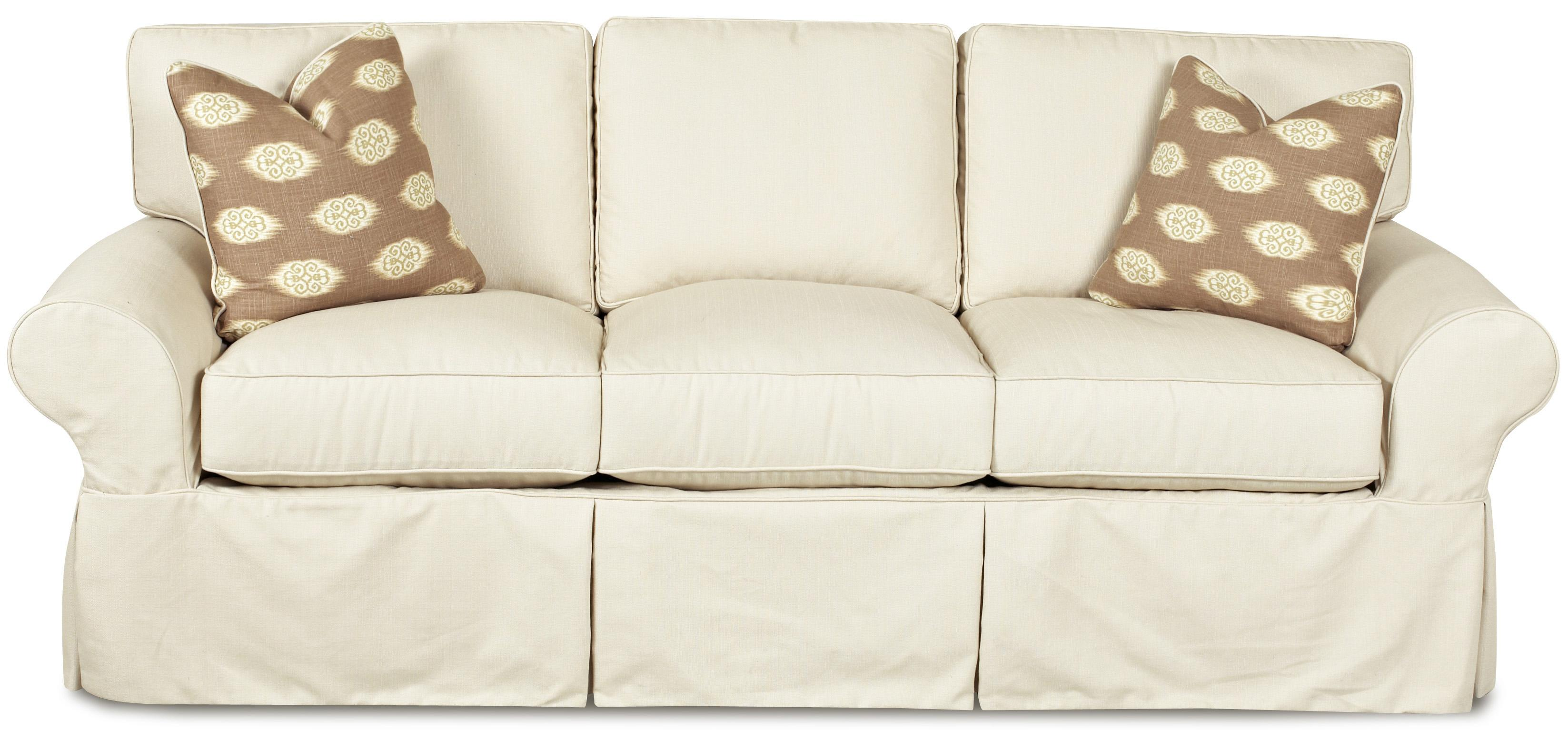 Klaussner Patterns Slipcovered Sofa With Rolled Arms And Tailored Skirt Johnny Janosik Sofas