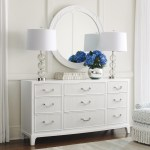 Lexington Avondale Silver Lake Triple Dresser Round Mirror Set Belfort Furniture Dresser Mirror Sets