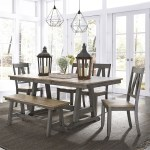 Liberty Furniture Lindsey Farm Transitional Two Toned 6 Piece Trestle Table Set Lindy S Furniture Company Table Chair Set With Bench
