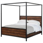 Magnolia Home By Joanna Gaines Industrial California King Wood Plank Metal Canopy Bed With Milk Crate Finish Sadler S Home Furnishings Canopy Beds