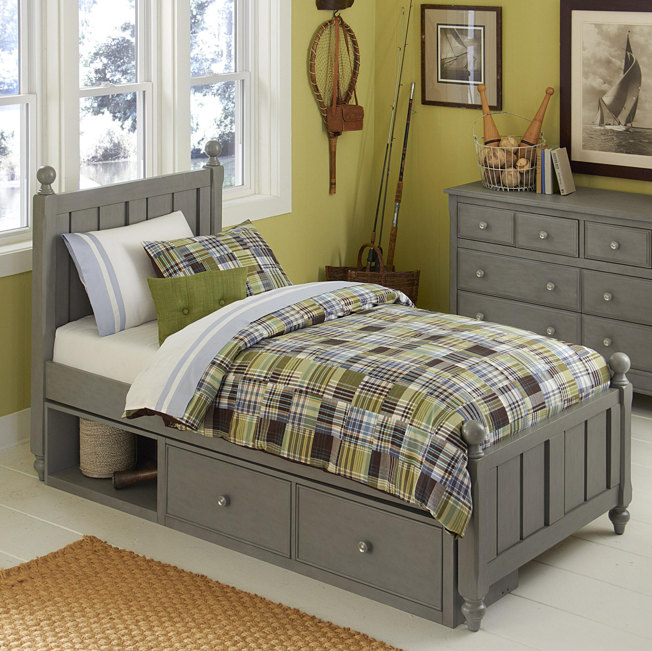 lake house twin bed and storage unit