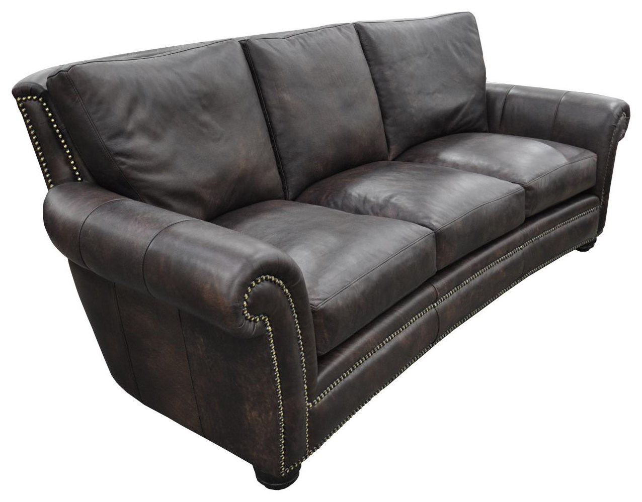 kaymus 13001 rolled arm leather sofa