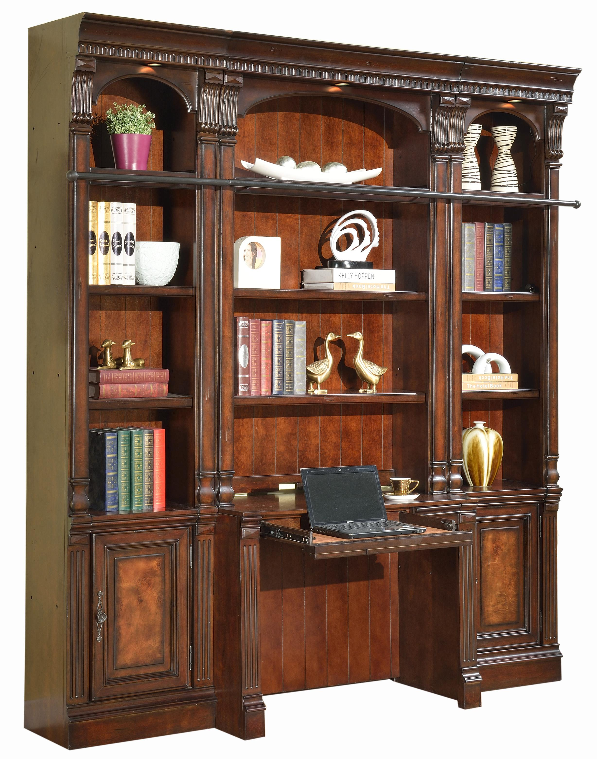 Parker House Corsica Four Piece Library Wall With Desk And Canister Lights Baers Furniture