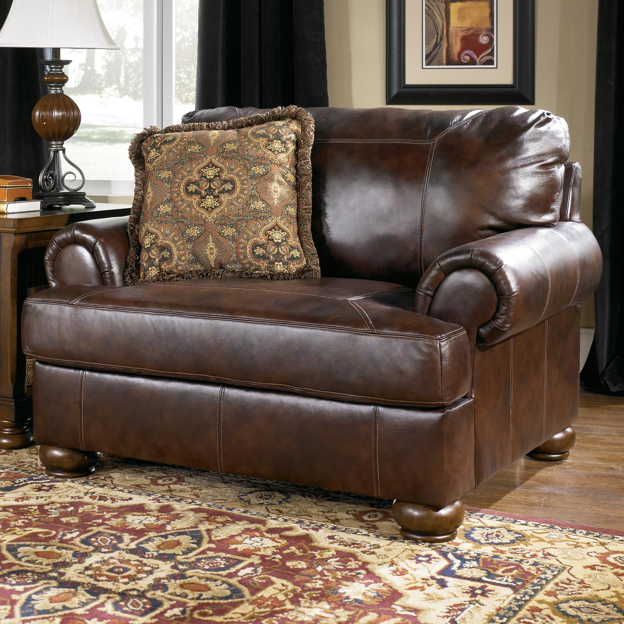 Signature Design By Ashley Axiom Walnut Traditional Upholstered Chair And A Half With Bun Wood