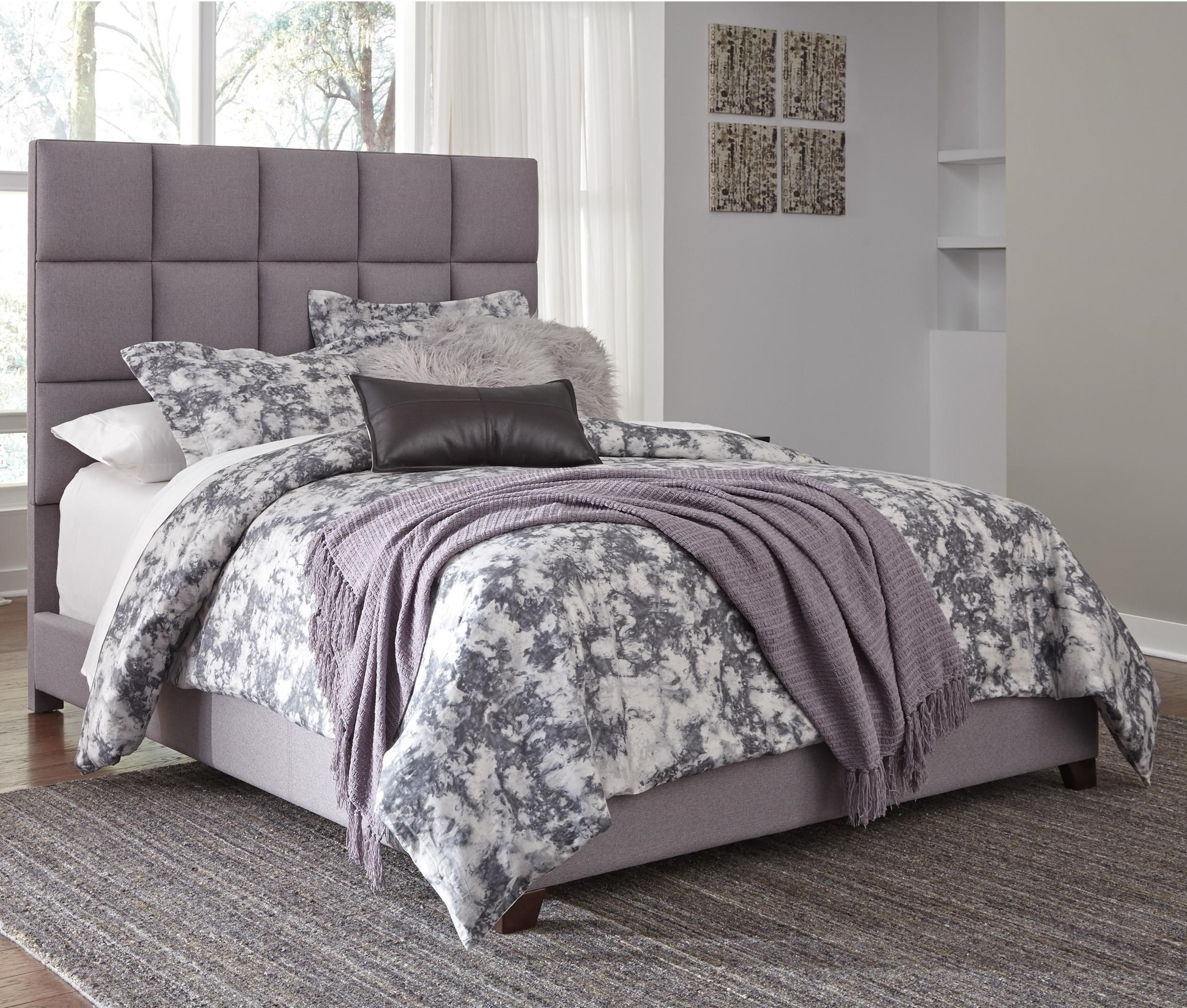 Signature Design By Ashley Dolante Queen Upholstered Bed In Gray Fabric Boulevard Home