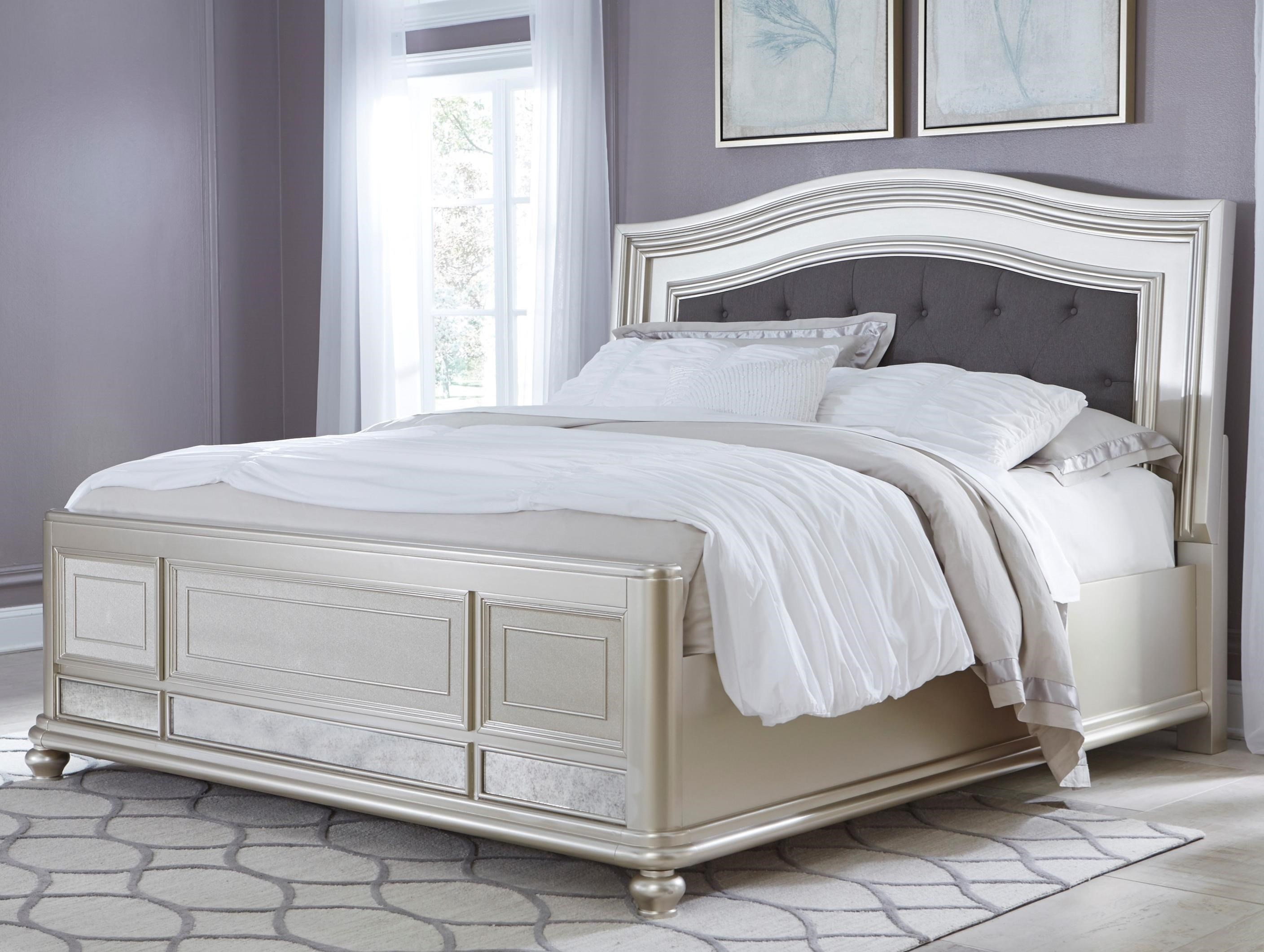 coralayne king panel bed with upholstered headboard