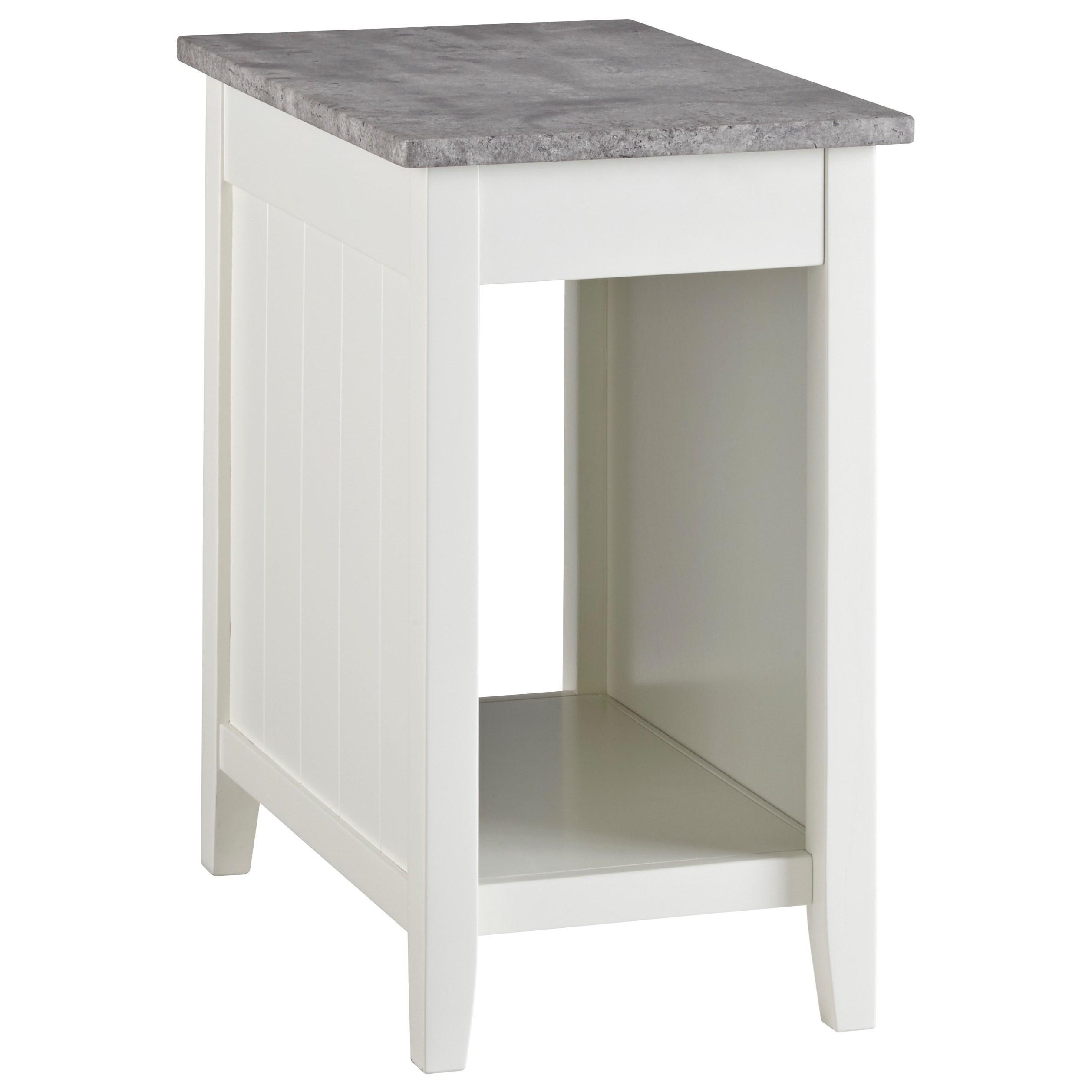 Signature Design By Ashley Diamenton White Paint Chair Side End Table With Faux Concrete Top