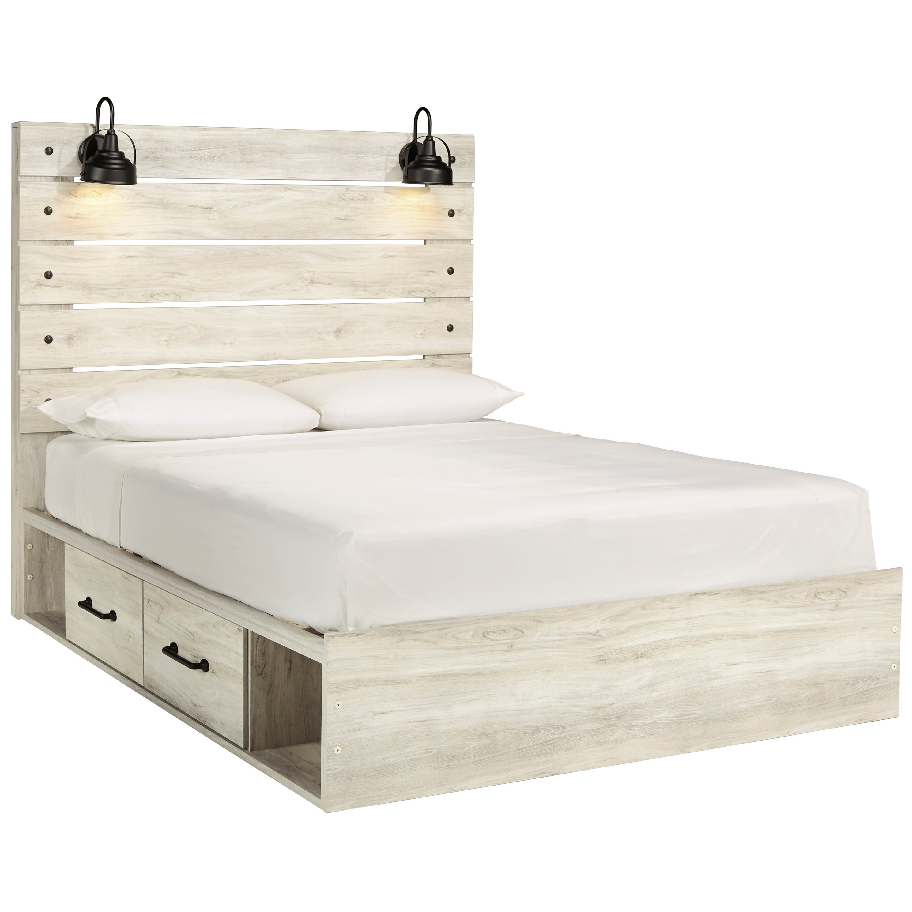 Ashley Furniture Signature Design Cambeck Rustic Queen Storage Bed With 2 Drawers Industrial Lights Del Sol Furniture Platform Beds Low Profile Beds