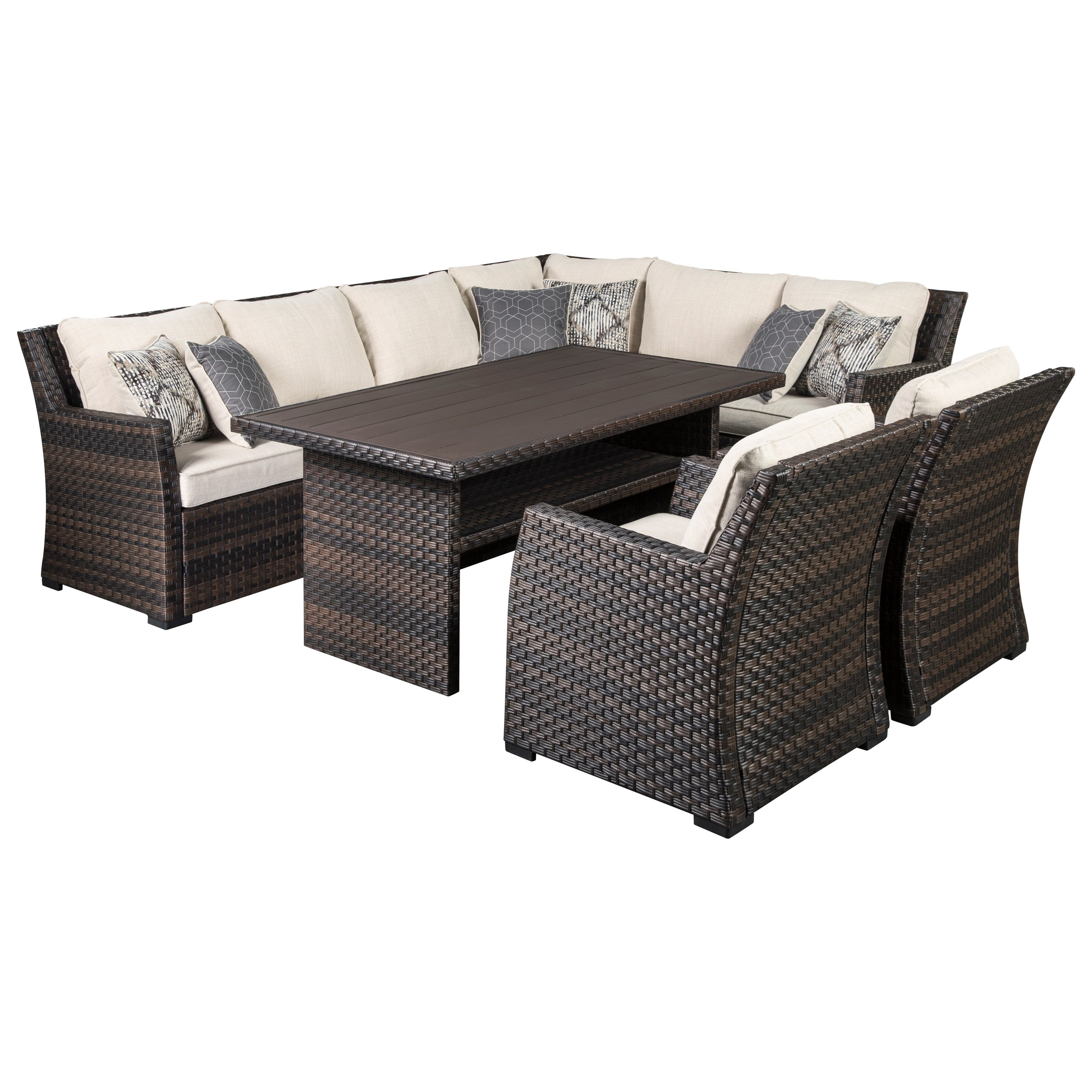 easy isle outdoor sectional with table 2 chairs