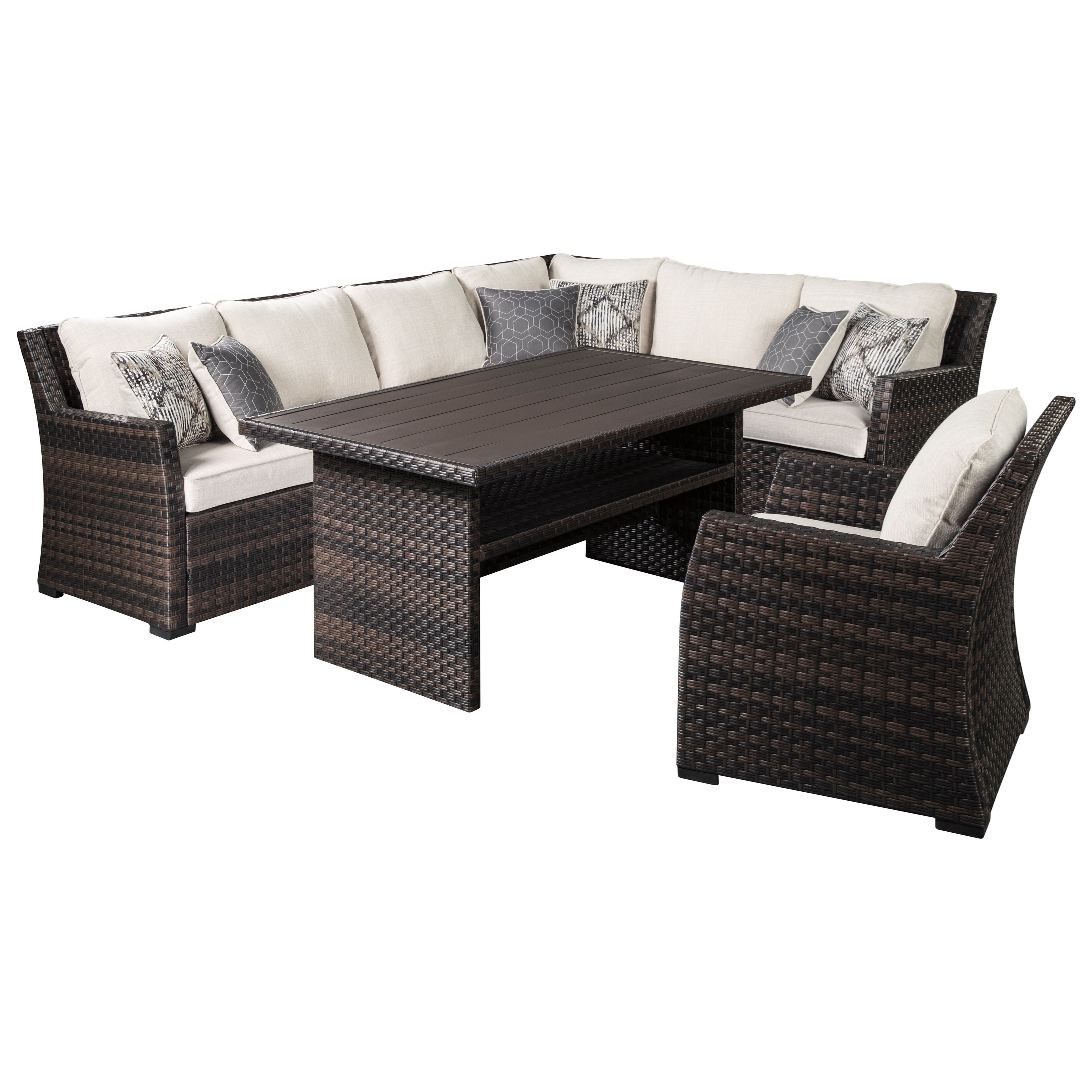 easy isle outdoor sectional with table lounge chair