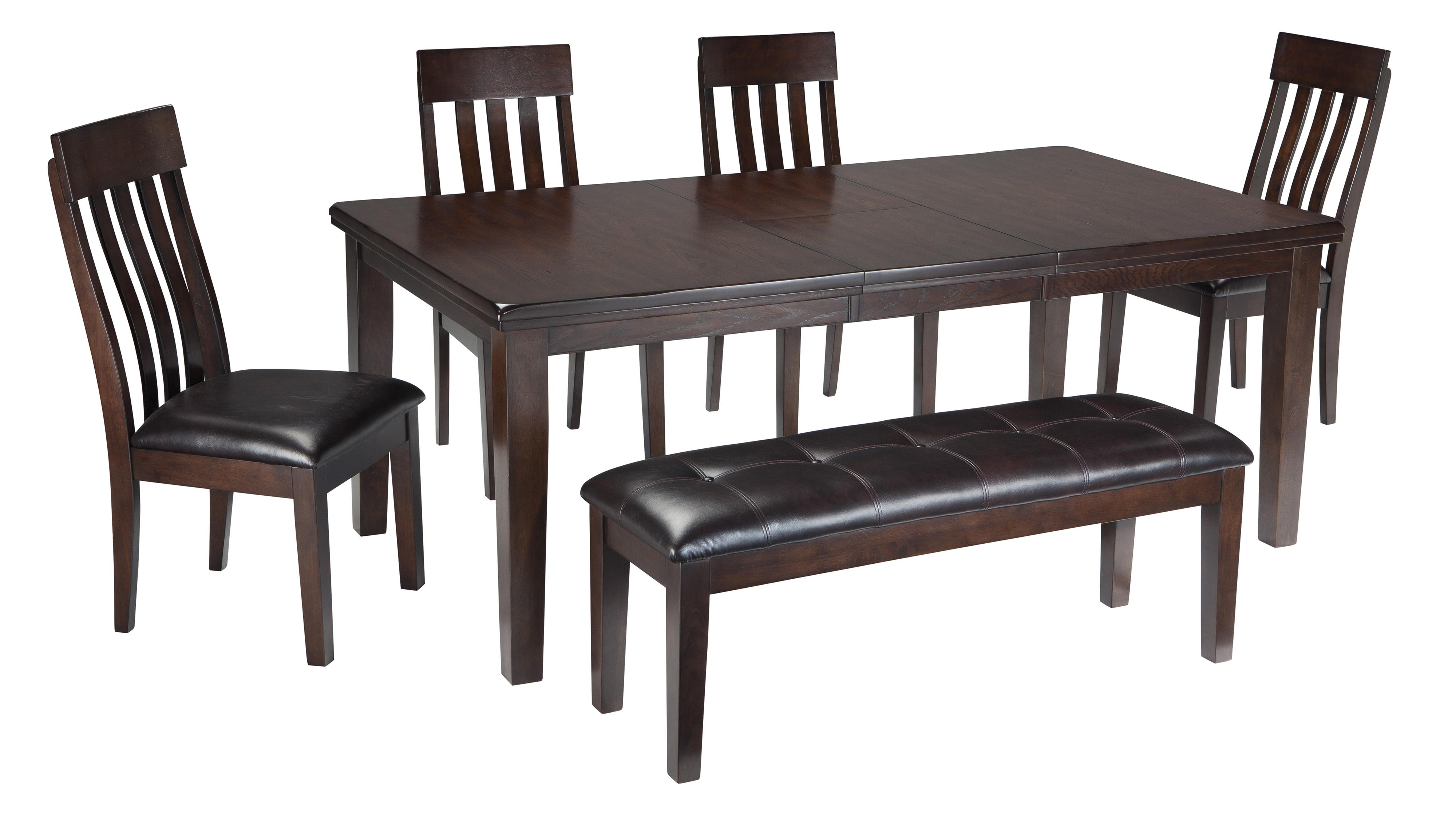 Signature Design By Ashley Haddigan 6 Piece Rectangular Dining Room Table W 4 Upholstered Dining Side Chairs And Upholstered Dining Bench Set Wayside Furniture Table Chair Set With Bench