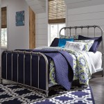 Signature Design By Ashley Nashburg Queen Metal Bed In Aged Pewter Finish Darvin Furniture Panel Beds