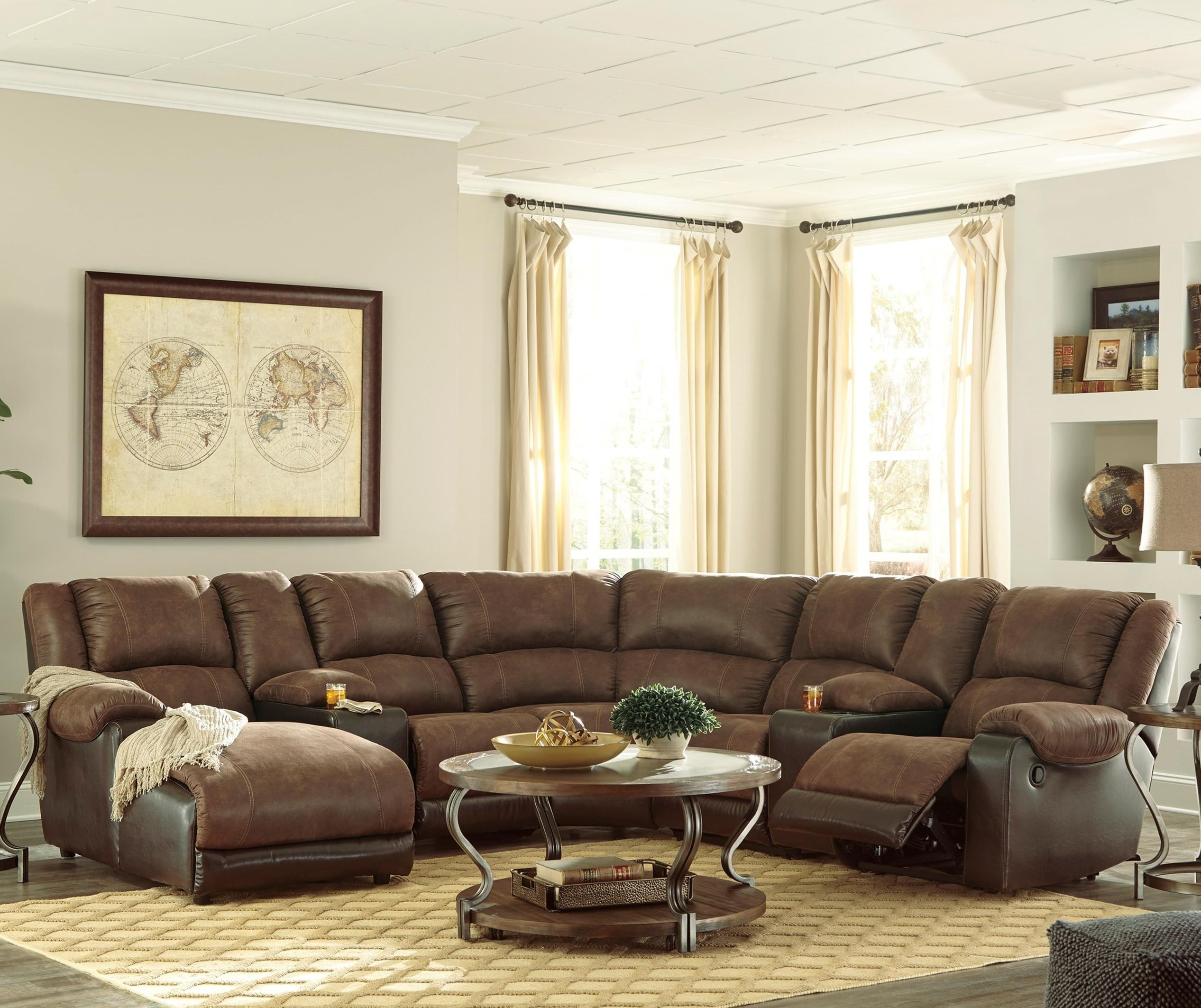 nantahala reclining sectional with 2 consoles chaise