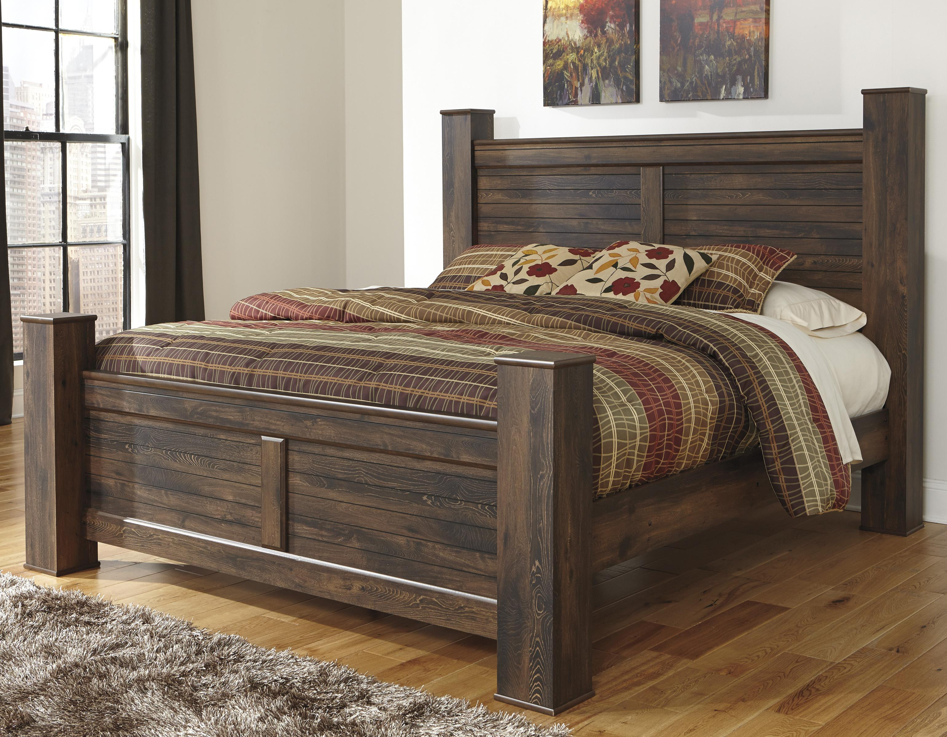 Ashley Signature Design Quinden Rustic King Poster Bed