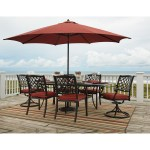 Signature Design Tanglevale Outdoor Dining Table Set W Umbrella Fisher Home Furnishings Outdoor Dining Sets