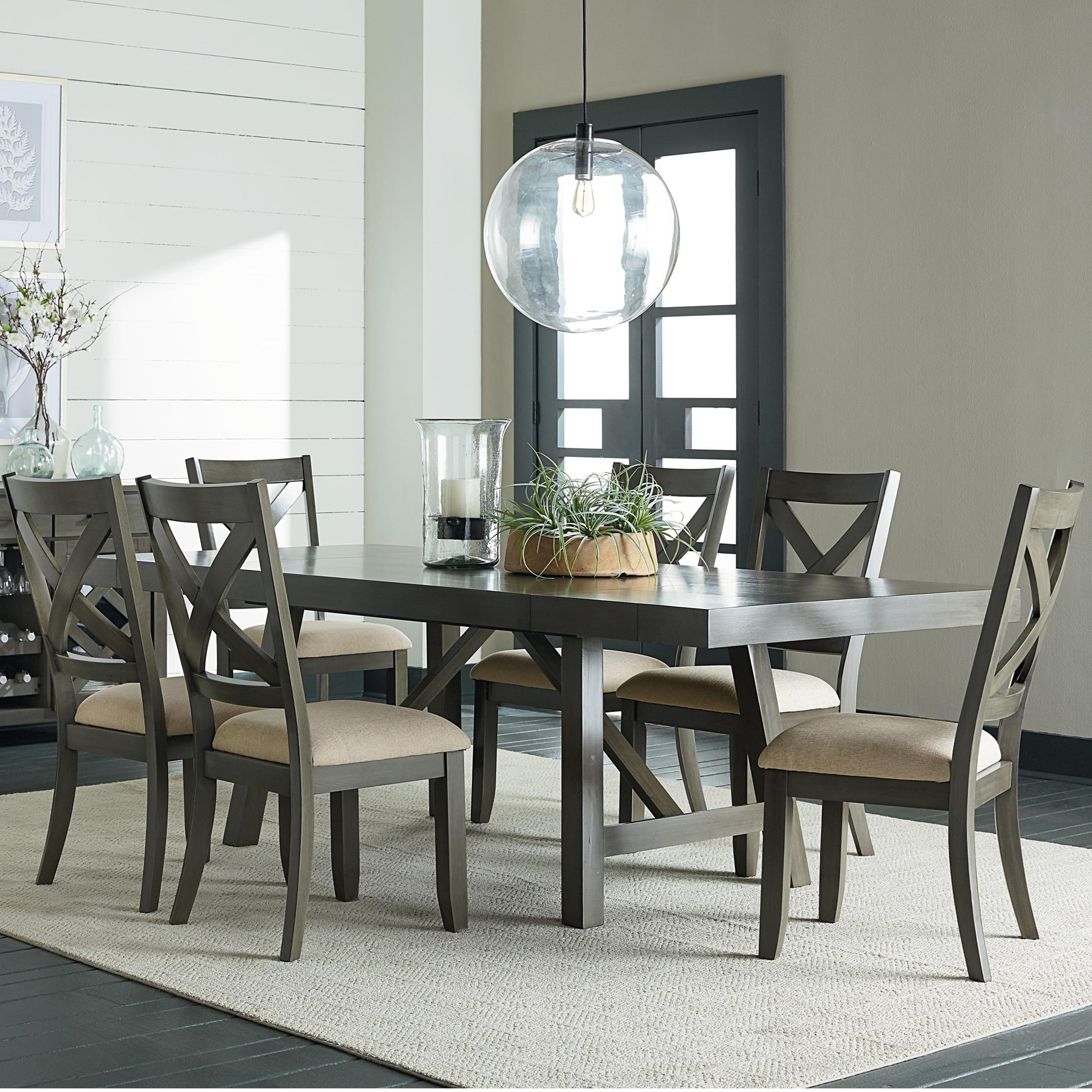 Standard Furniture Omaha Grey 7 Piece Trestle Table Dining