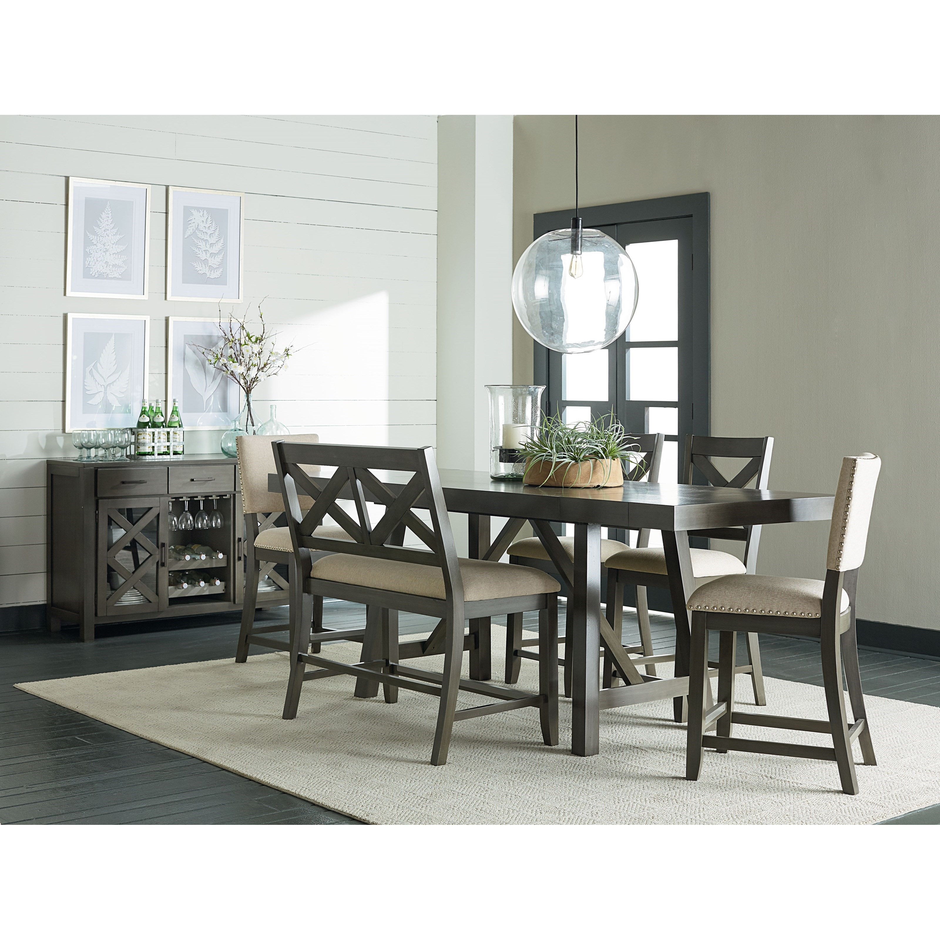 Standard Furniture Omaha Grey 6 Piece Counter Height Trestle Table Dining Set Dunk Amp Bright