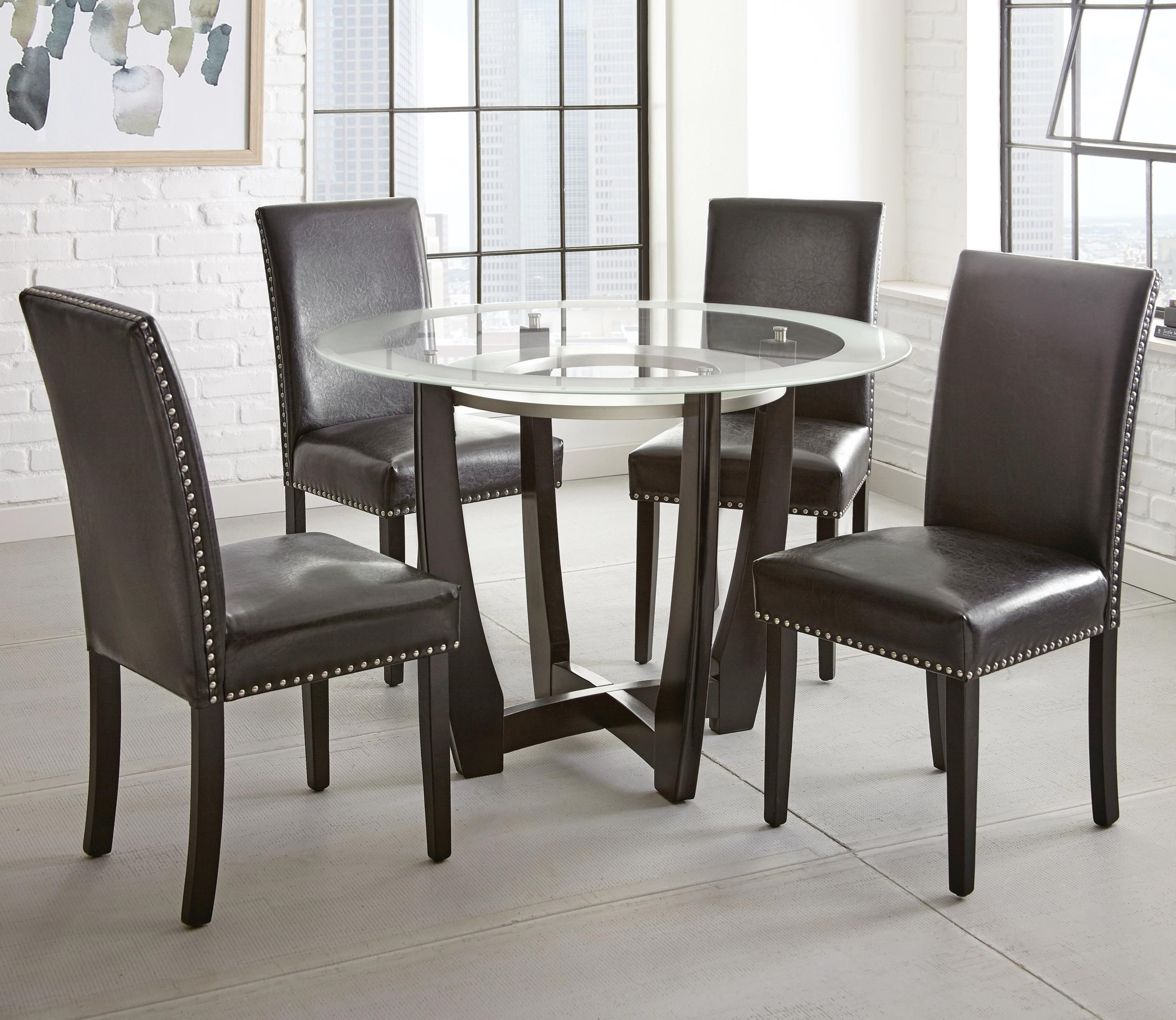 Steve Silver Verano 5pc Contemporary 45 Round Glass Top Dining Table Set With Black Chairs Standard Furniture Dining 5 Piece Sets