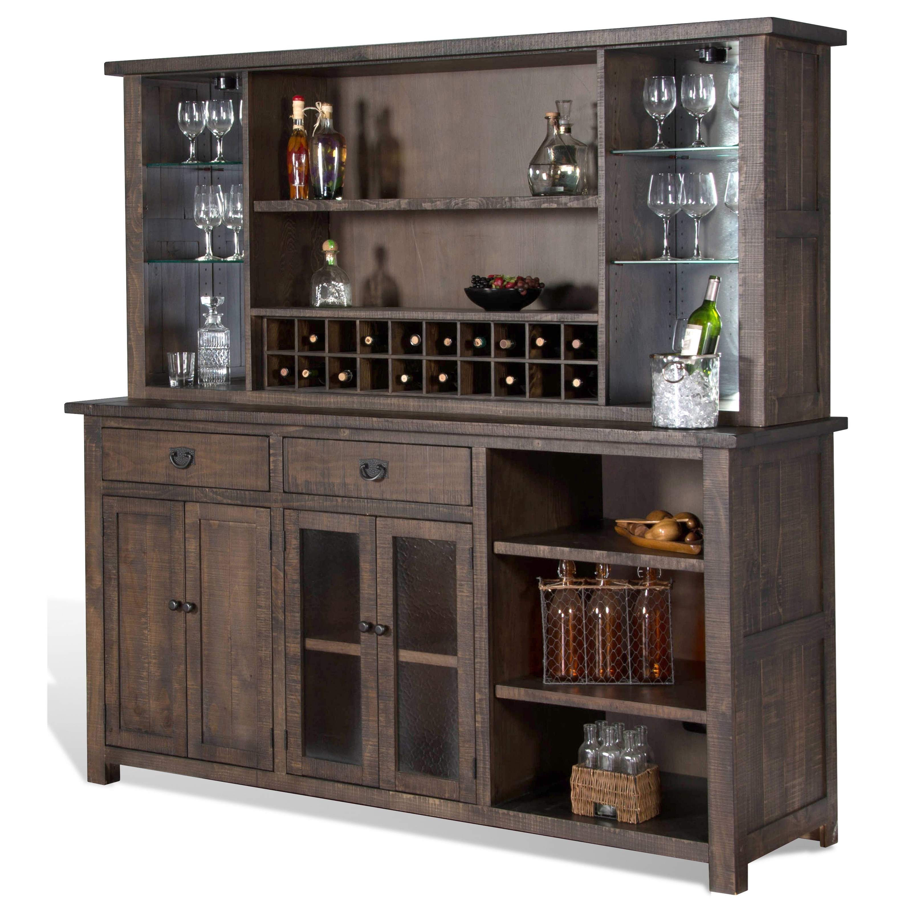 Sunny Designs Homestead 2 Rustic Back Bar With Wine Bottle