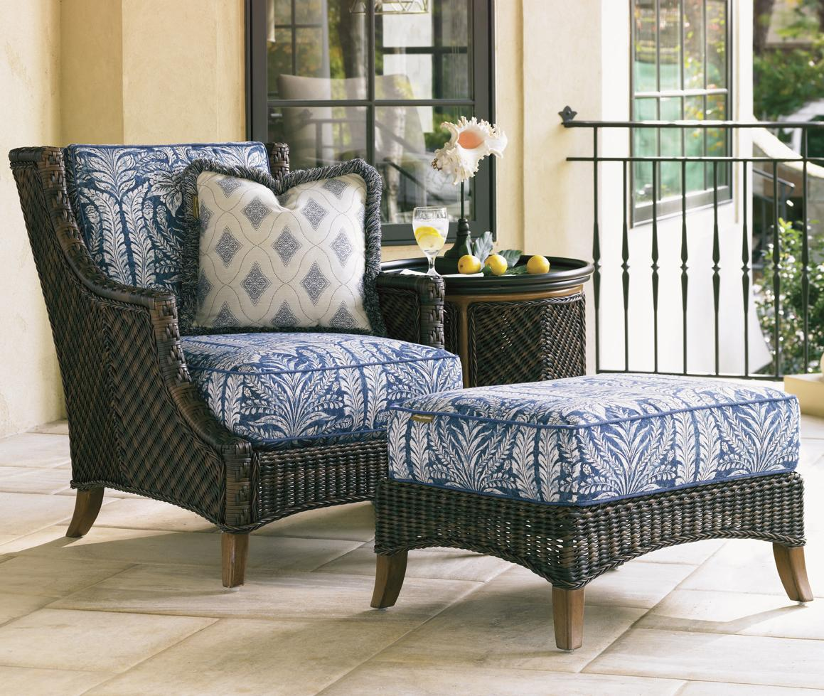 woven wicker lounge chair ottoman