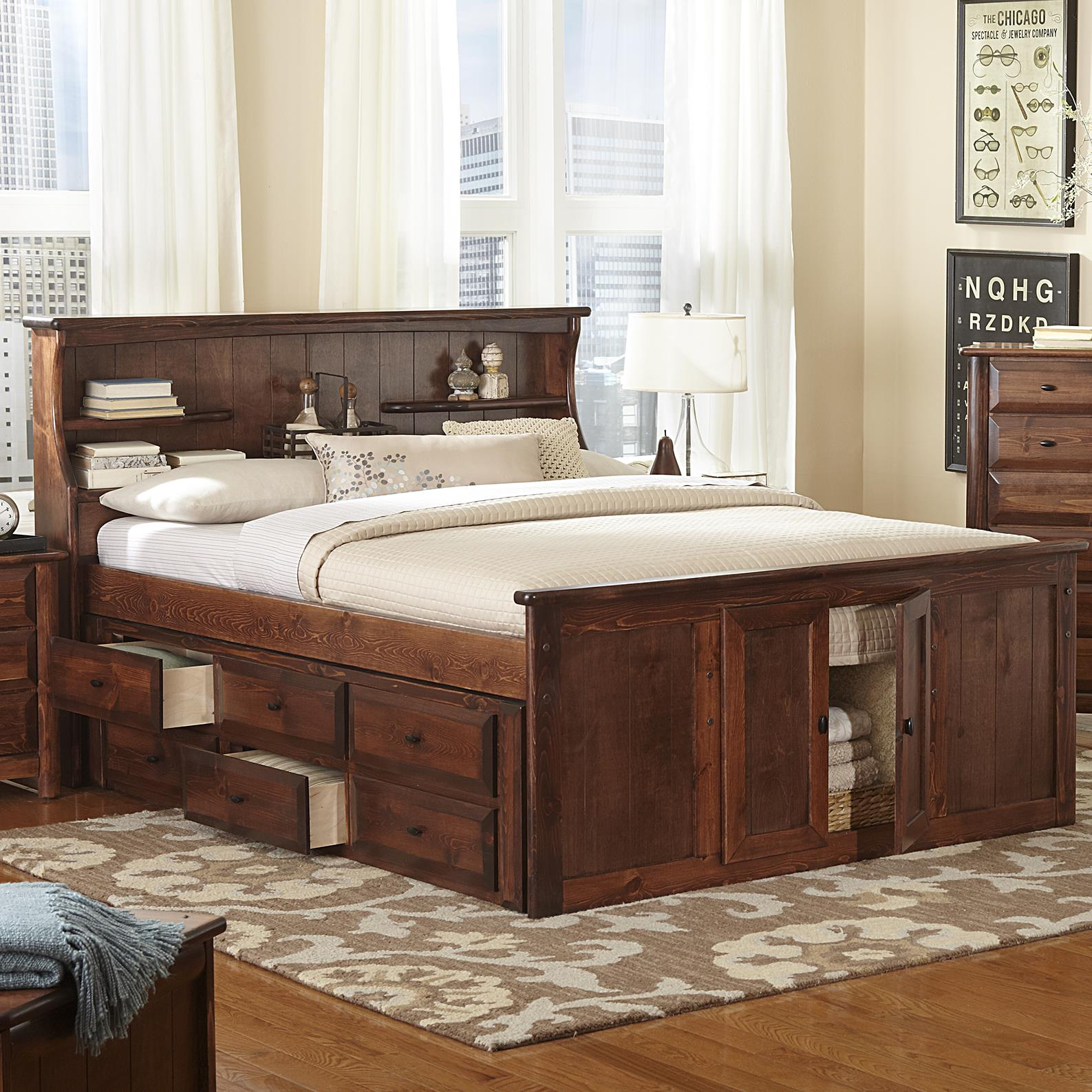 Trendwood Laguna Queen Book Case Bed W Footboard Storage Conlin S Furniture Bookcase Beds