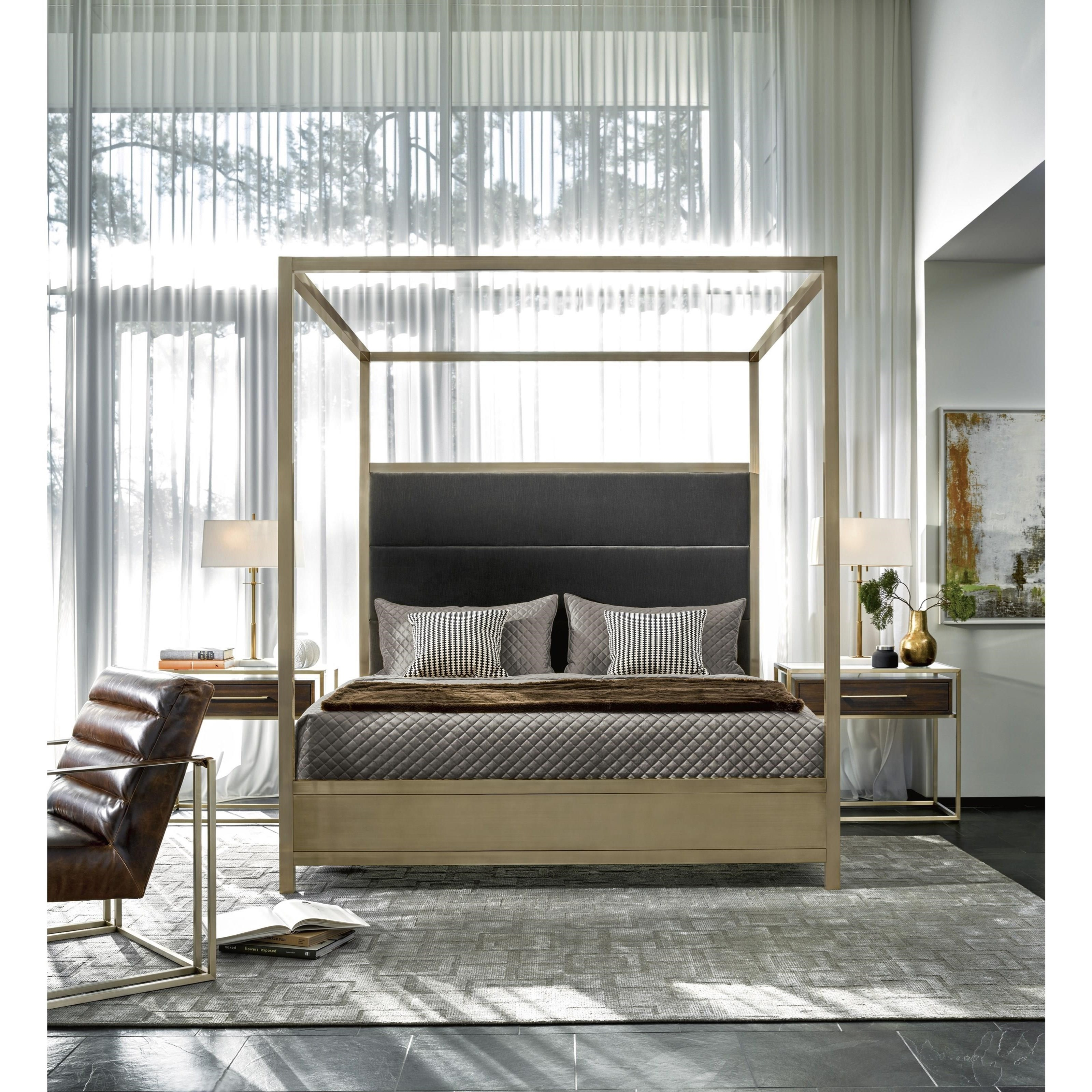 Universal Modern Harlow Cal King Canopy Bed With Brushed
