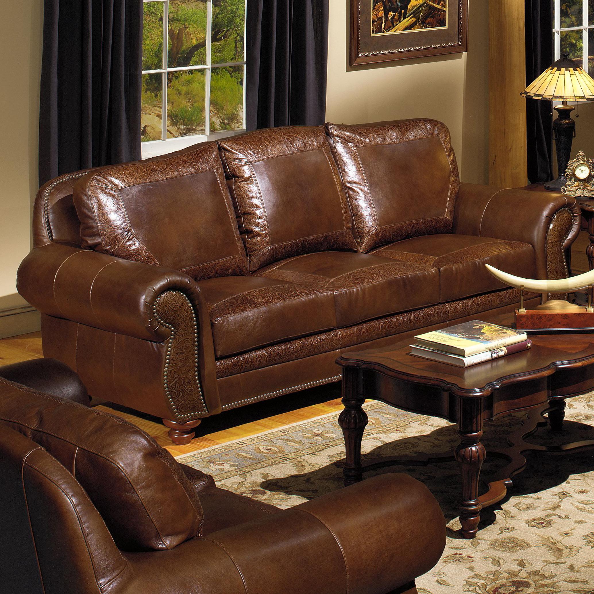 USA Premium Leather 8555 Traditional Leather Sofa With Nailhead Trim Olindes Furniture Sofas