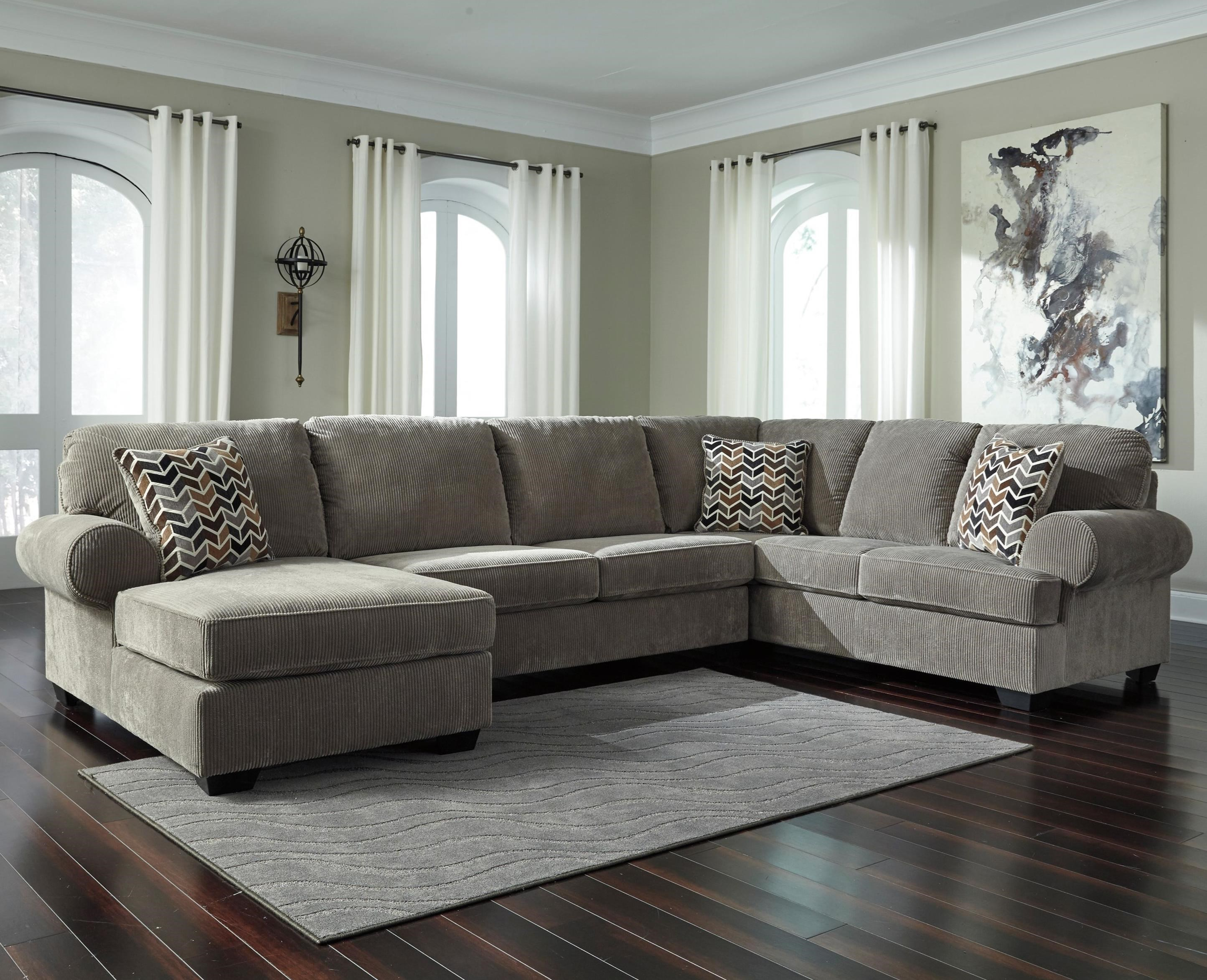 Signature Design By Ashley Jinllingsly Contemporary 3 Piece Sectional With Left Chaise In