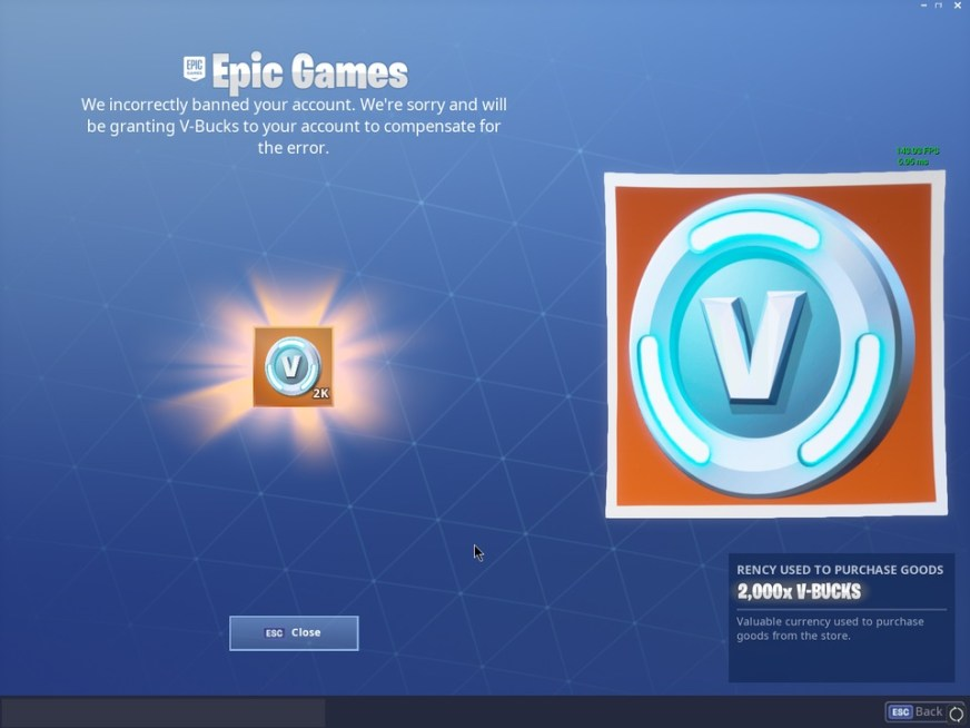Epic Games are handing out 2000 V-Bucks to Players with ...
