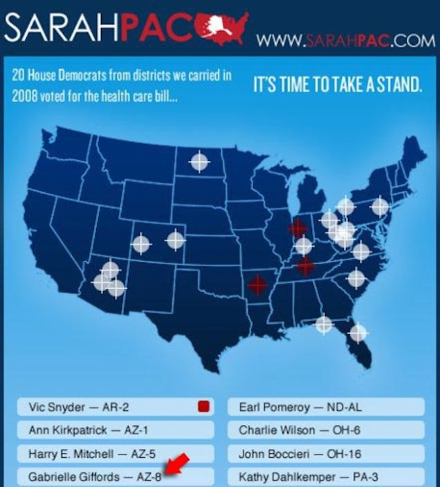 Image result for Images of Sarah Palin's crosshairs map