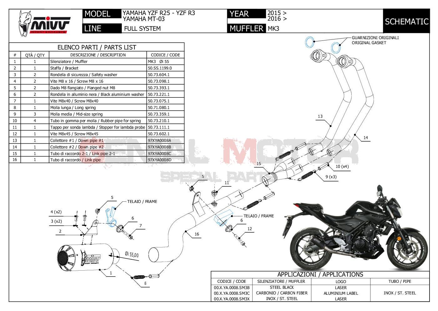 Mivv Complete Exhaust Full System Inox For Yamaha Yzf R3