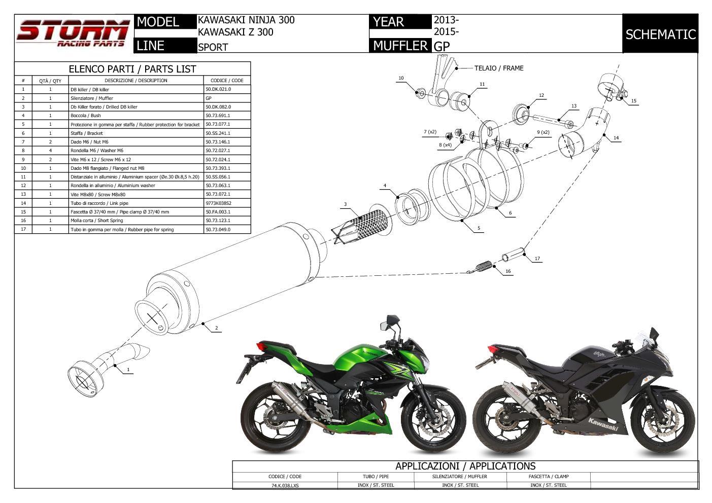 Scarico Storm By Mivv Gp Acciaio Inox Per Kawasaki Z300
