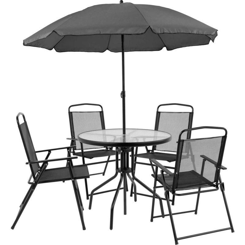 flash furniture nantucket 5 piece outdoor patio dining set with umbrella black