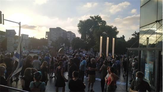 Tonight's protest in Horev, Haifa / Photo: Johnny Spector