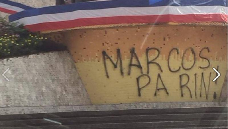Vandals paint 'Marcos Pa Rin!' at People Power Monument | GMA News Online