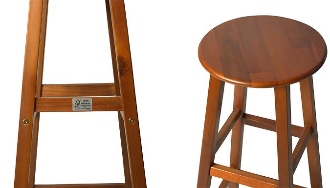 2 x Stackable Bar Stools - Varnished Acacia Wood