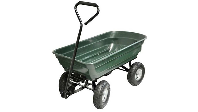 75L 4-Wheel Tipping Action Garden Cart