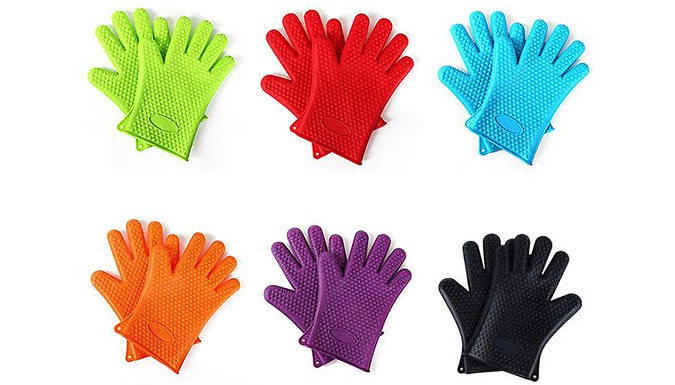 Silicone Heat-Resistant Gloves - 6 Colours