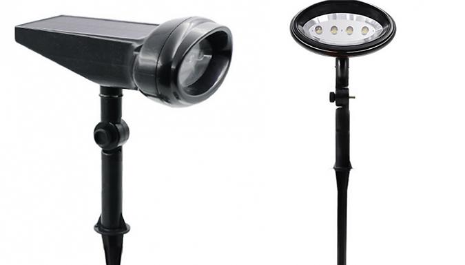 4-LED Solar-Powered Lawn Spotlight